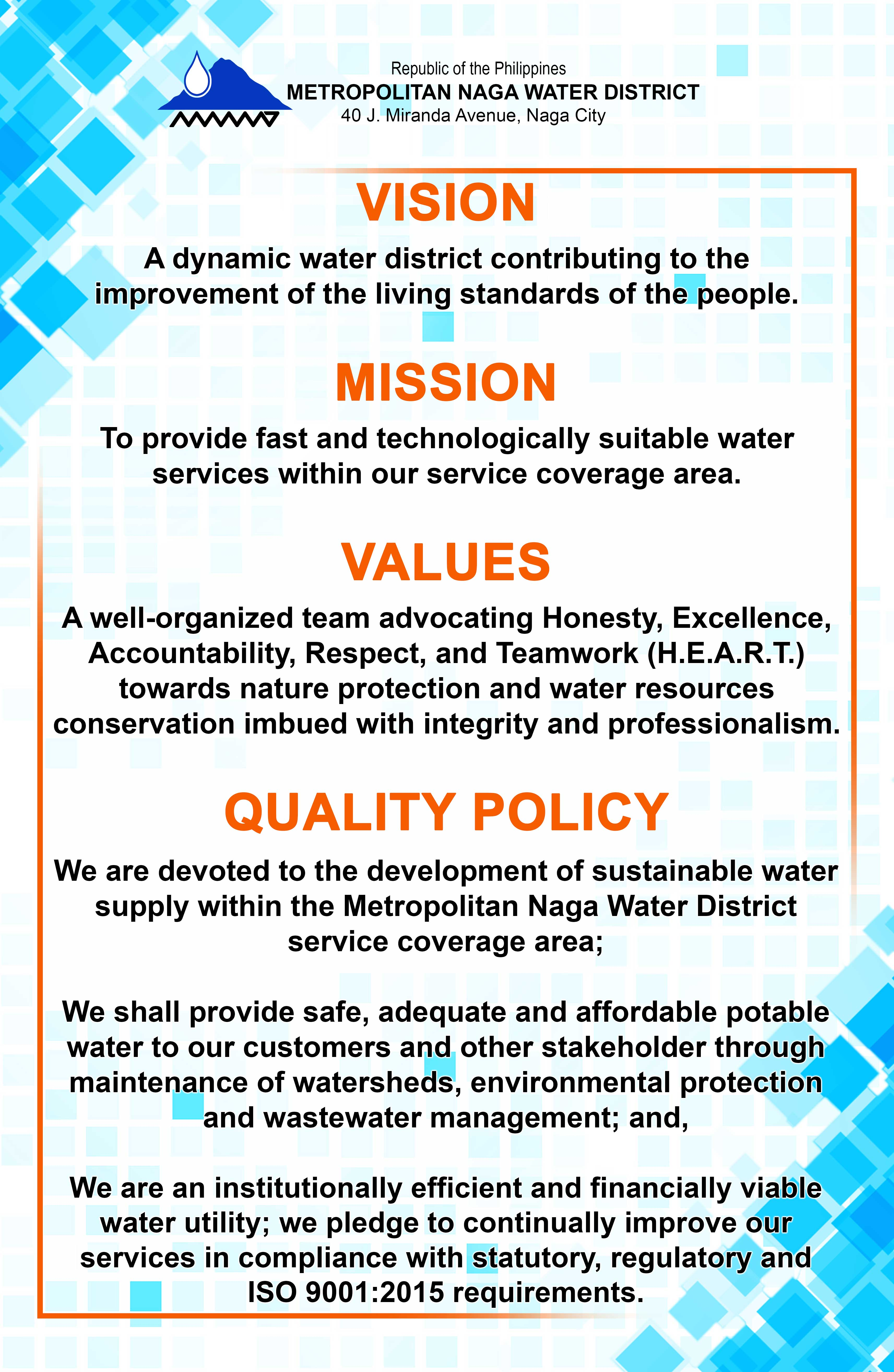 Organizational Profile Metropolitan Naga Water District