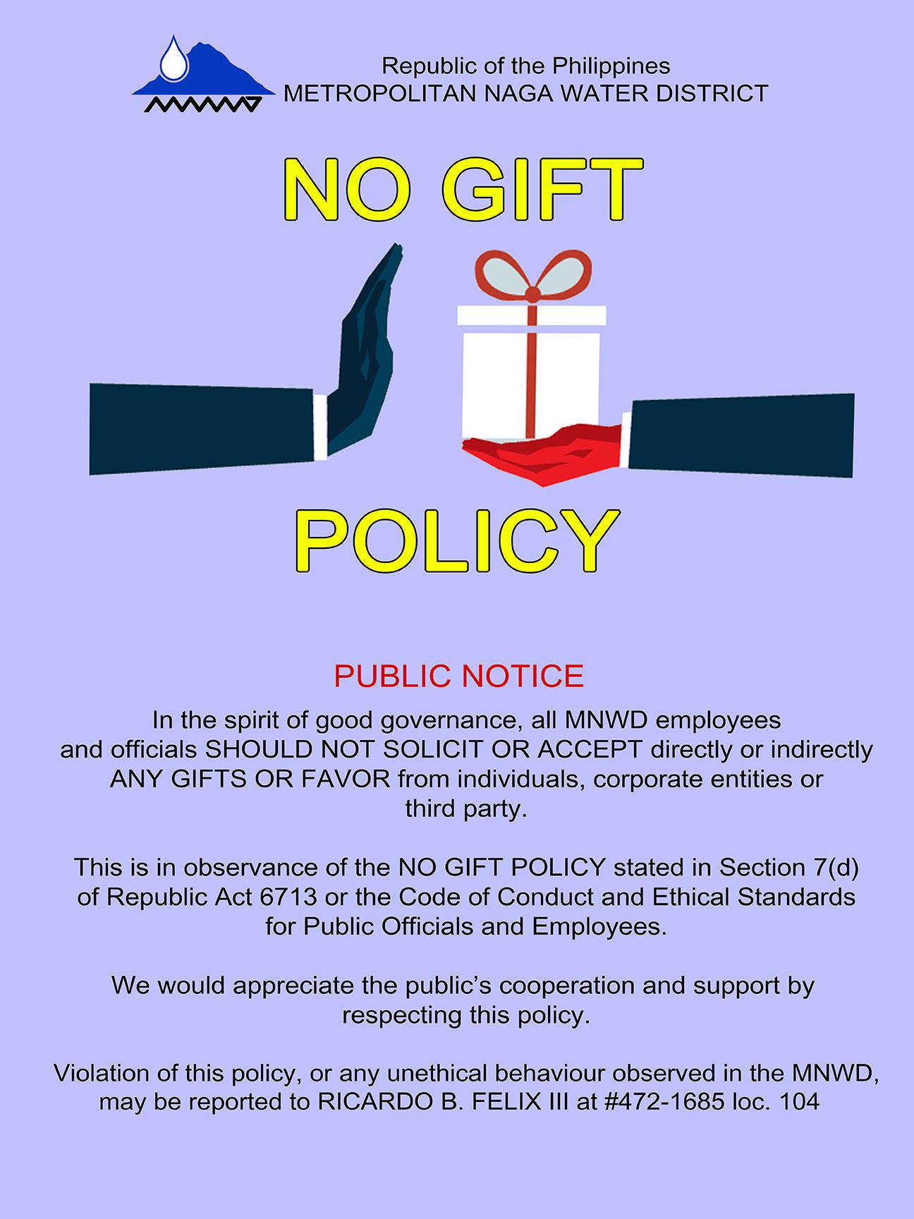 Public Notice No Gift Policy Metropolitan Naga Water