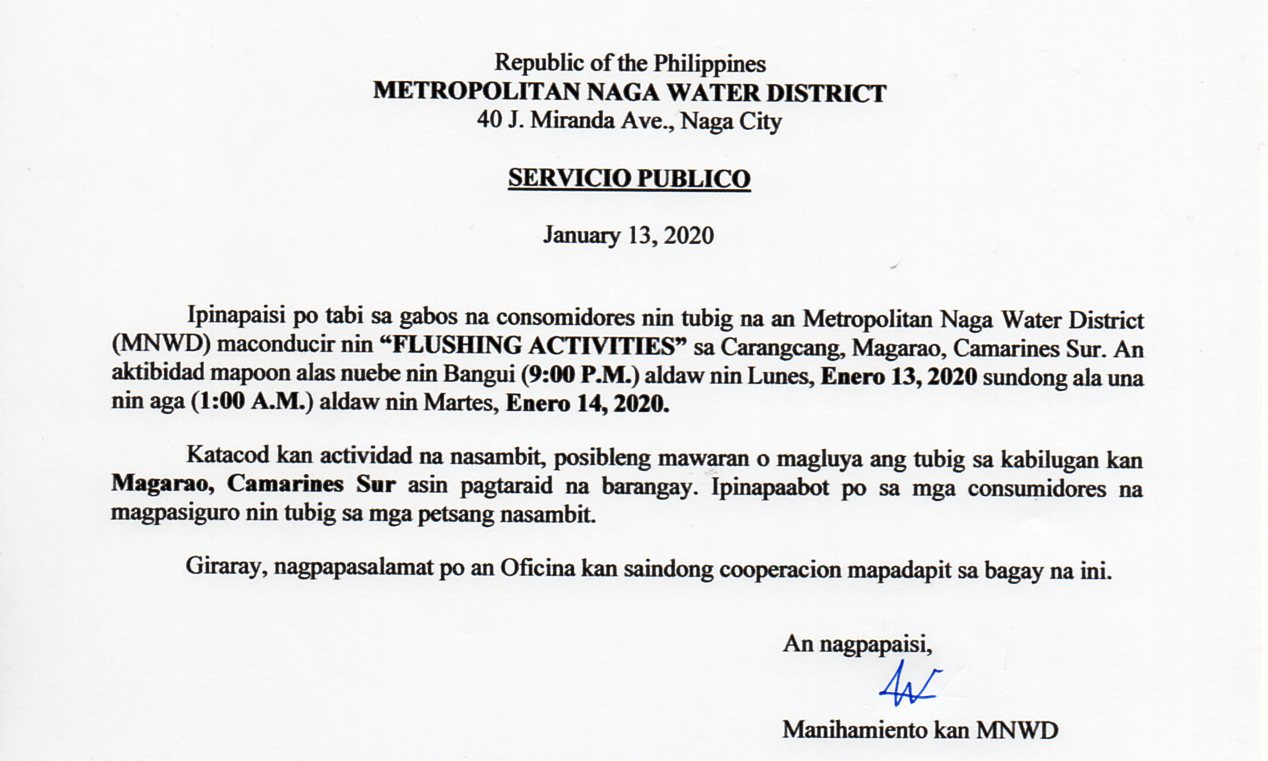 01.13.2020 Flushing Activity_Carangcang, Magarao