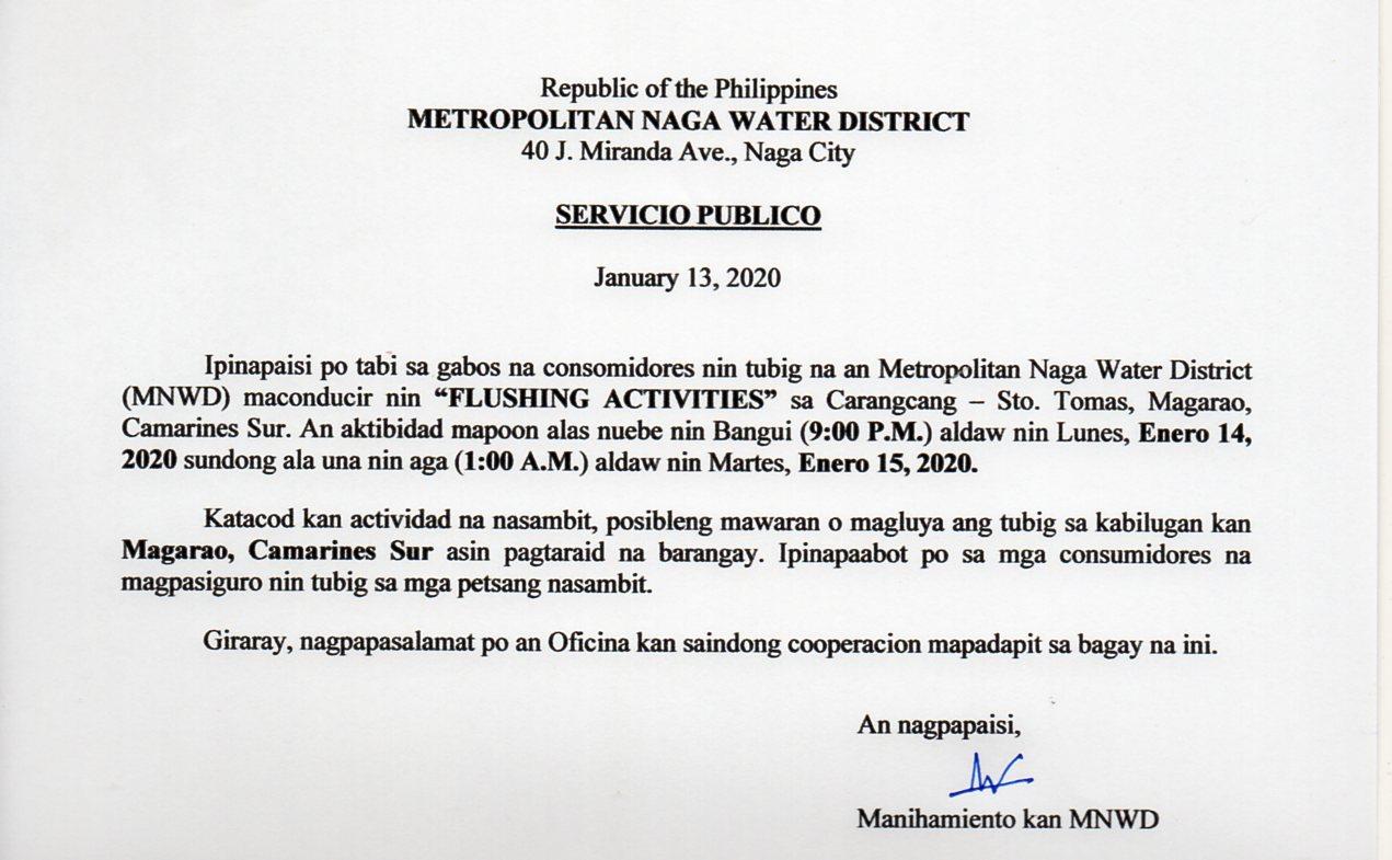 01.13.2020 Flushing Activity_Carangcang-Sto. Tomas, Magarao