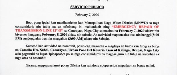 02.07.2020 Emergency Repair Transmission Line_Cararayan, Naga City